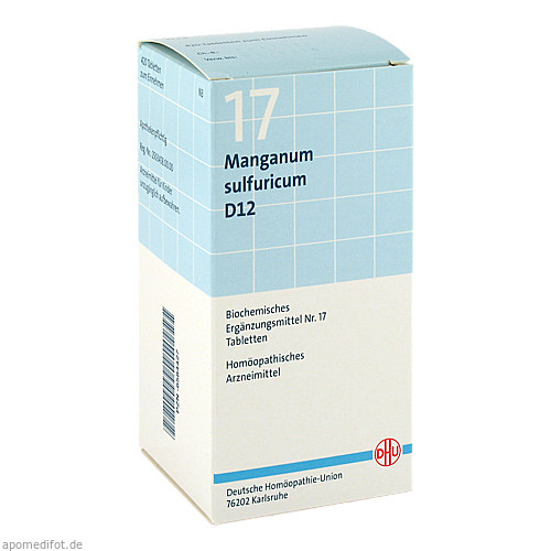 BIOCHEMIE DHU 17 Manganum sulfuricum D12 Tabl., 420 ST, Dhu-Arzneimittel GmbH & Co. KG