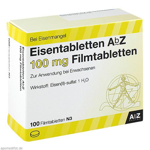 Eisentabletten AbZ 100 mg Filmtabletten, 100 ST, Abz-Pharma GmbH
