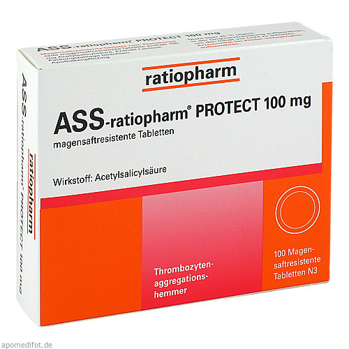 ASS-ratiopharm PROTECT 100mg, 100 ST, ratiopharm GmbH