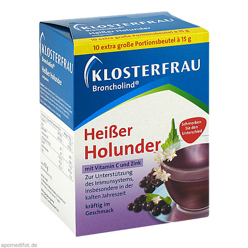 KLOSTERFRAU Broncholind heißer Holunder Pulver, 10X15 G, MCM Klosterfrau Vertriebsgesellschaft mbH
