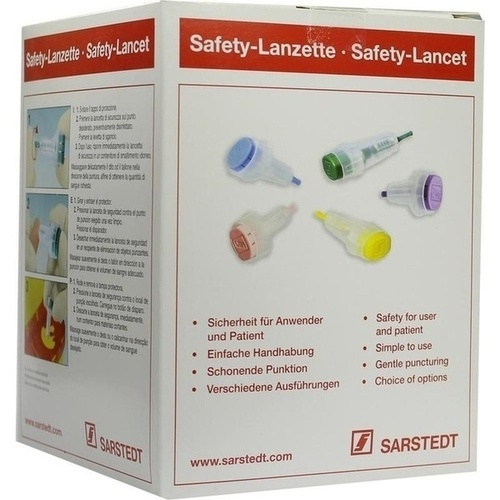 Safety-Lanzette 28G mini blau Einstechtiefe 1.6mm, 200 ST, Sarstedt AG & Co. KG