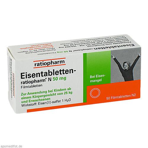 Eisentabletten-ratiopharm N 50mg Filmtabletten, 50 ST, ratiopharm GmbH