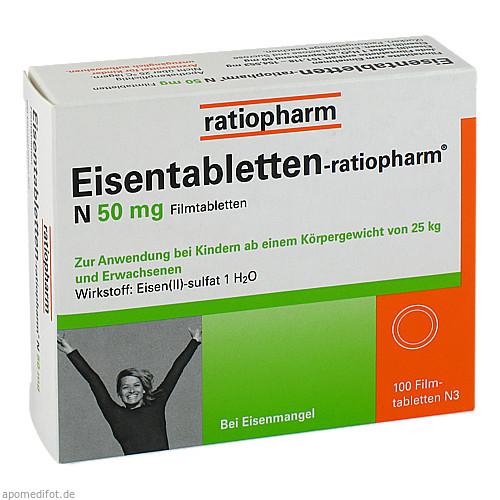 Eisentabletten-ratiopharm N 50mg Filmtabletten, 100 ST, ratiopharm GmbH