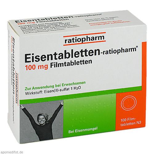 Eisentabletten-ratiopharm 100mg Filmtabletten, 100 ST, ratiopharm GmbH