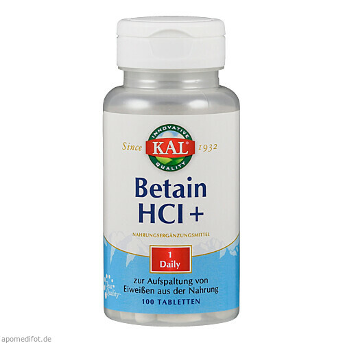 BETAIN HCL + 250MG, 100 ST, Supplementa Corporation B.V.