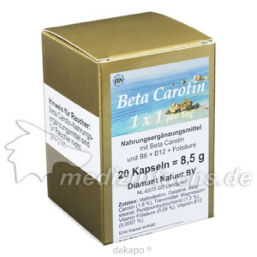 Beta Carotin 1 x 1 pro Tag, 20 ST, Fbk-Pharma GmbH