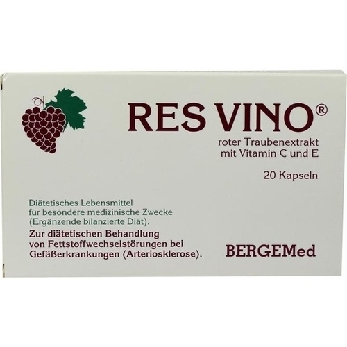 RES VINO Roter Trauben Extrakt Rotweintraubenextra, 20 ST, Bergemed Handelsgesellschaft mbH