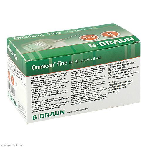 OMNICAN fine Pen-Kanüle G31 0.25X8mm, 100 ST, B. Braun Melsungen AG