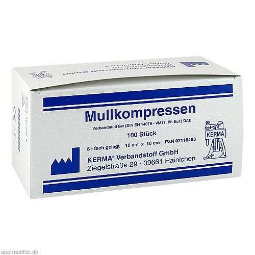 MULLKOMPRESSEN 8FACH GELEGT UNSTERIL 10x10CM, 100 ST, Kerma Verbandstoff GmbH