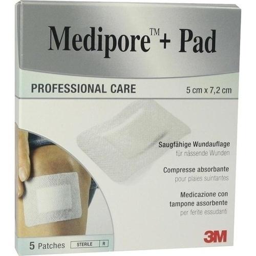 Medipore +Pad 3M 5.0 cm x 7.2 cm, 5 ST, 3M Medica Zwnl.d.3M Deutschl. GmbH