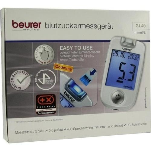 Beurer GL 40 Blutzuckermessgerät mmol/l codefree, 1 ST, BEURER GmbH