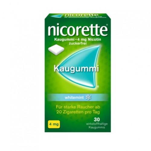 nicorette Kaugummi 4mg whitemint, 30 ST, Johnson & Johnson GmbH (Otc)