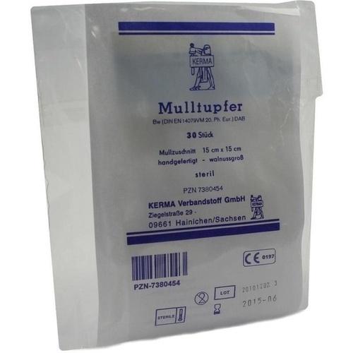 MULLTUPFER BW HANDGEF.WALLNUSSGROSS STERIL, 30 ST, Kerma Verbandstoff GmbH