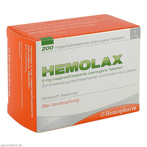 Hemolax 5mg überzogene Tabletten, 200 ST, Hemopharm GmbH