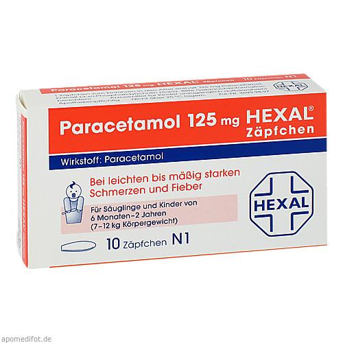 PARACETAMOL 125 mg HEXAL Zäpfchen, 10 ST, Hexal AG