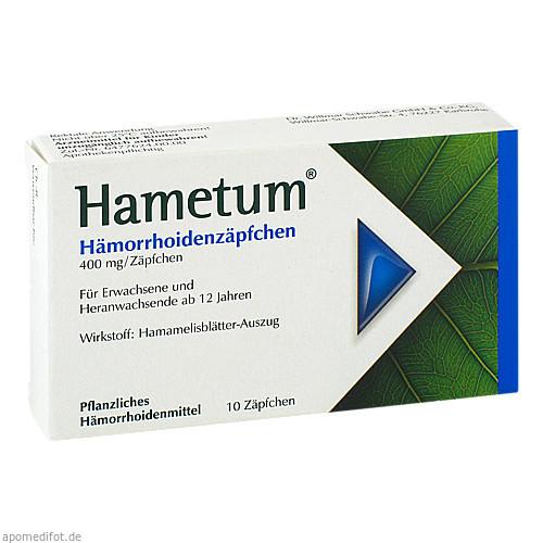Hametum Hämorrhoiden Zäpfchen, 10 ST, Dr.Willmar Schwabe GmbH & Co. KG
