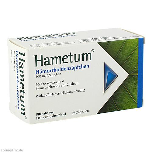 Hametum Hämorrhoiden Zäpfchen, 25 ST, Dr.Willmar Schwabe GmbH & Co. KG