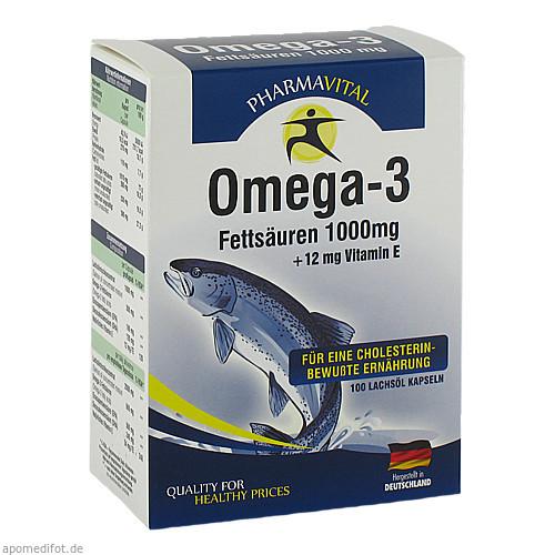 Omega 3 Fettsäuren 1000mg + 12mg Vitamin E, 100 ST, Pharmavital GmbH