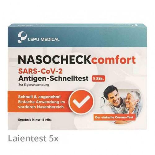 NASOCHECK comfort SARS-CoV-2 Antigen Selbsttest Nasentest, 5 ST, LEPU MEDICAL TECHNOLOGY BEIJING CO. LTD.