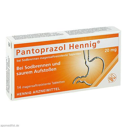 Pantoprazol Hennig b.Sodbrennen 20mg Magen.res.Tab, 14 ST, Hennig Arzneimittel GmbH & Co. KG
