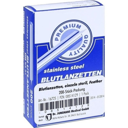 Blutlanzetten einzeln steril Feather, 200 ST, Dr. Junghans Medical GmbH