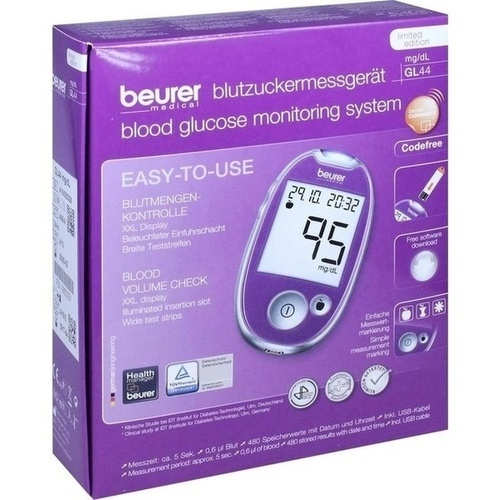 Beurer GL 44 Blutzuckermessgerät lila mg/dl, 1 ST, BEURER GmbH