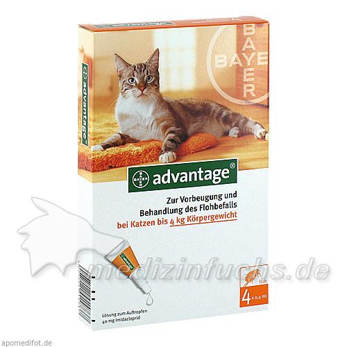 ADVANTAGE 40 Lösung f.Katzen bis 4 kg, 4 ST, Bayer Tiergesundheit