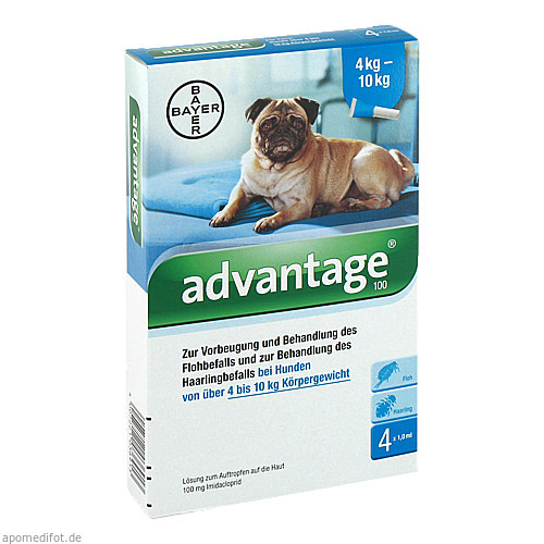 ADVANTAGE 100 Lösung f.Hunde 4-10 kg, 4 ST, Bayer Vital GmbH GB - Tiergesundheit