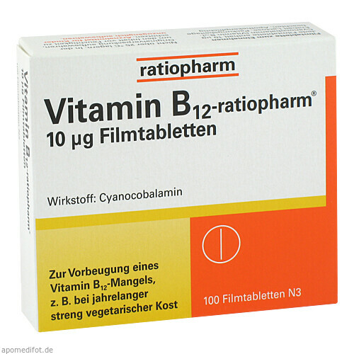 VITAMIN B12 ratiopharm 10 \m63g Filmtabletten, 100 ST, ratiopharm GmbH