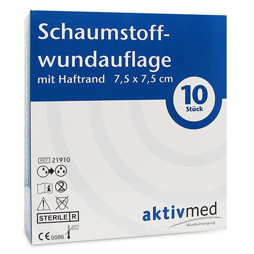 aktivmed Schaumstoffwundauflage m.Haftr.7.5x7.5cm, 10 ST, Aktivmed GmbH