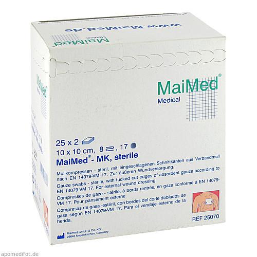 Mullkompressen 10x10 8-fach steril, 25X2 ST, Maimed GmbH