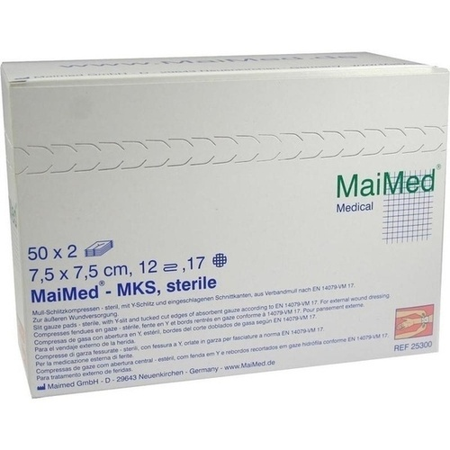 Schlitzkompressen 7.5x7.5 12-fach steril, 50X2 ST, Maimed GmbH