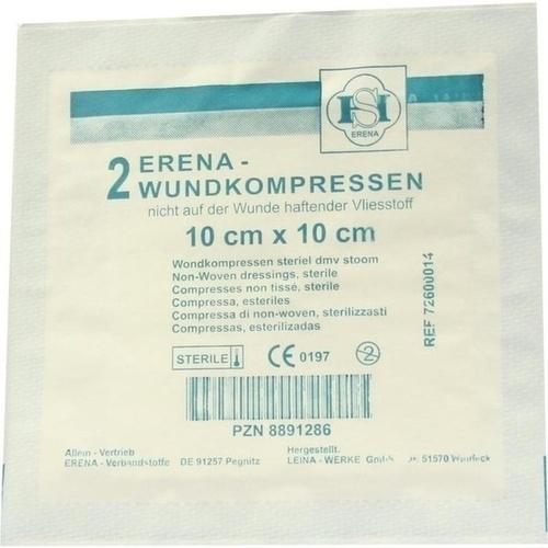 Erena Vlies-Kompresse steril 10X10cm, 2 ST, Erena Verbandstoffe GmbH & Co. KG