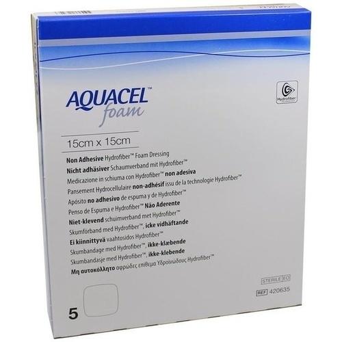 AQUACEL Foam nicht-adhäsiv 15x15cm, 5 ST, Convatec (Germany) GmbH