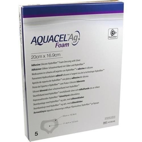 AQUACEL Ag Foam adhäsiv Sakral 20x16.9cm, 5 ST, Convatec (Germany) GmbH