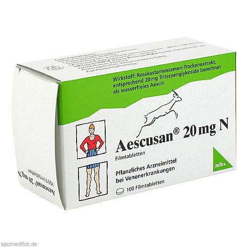 AESCUSAN 20 mg N Filmtabletten, 100 ST, MIBE GmbH Arzneimittel