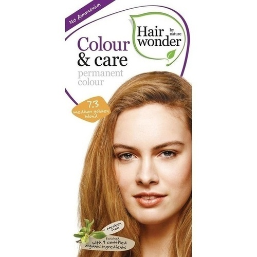 Hairwonder Colour & care Med.Golden Blond 7.3, 100 ML, Frenchtop Natural Care Products B.V