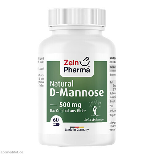 Natural D-Mannose 500mg, 60 ST, Zein Pharma - Germany GmbH