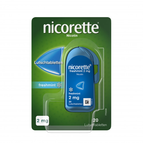 Nicorette freshmint 2mg Lutschtabletten gepresst, 20 ST, Johnson & Johnson GmbH (Otc)