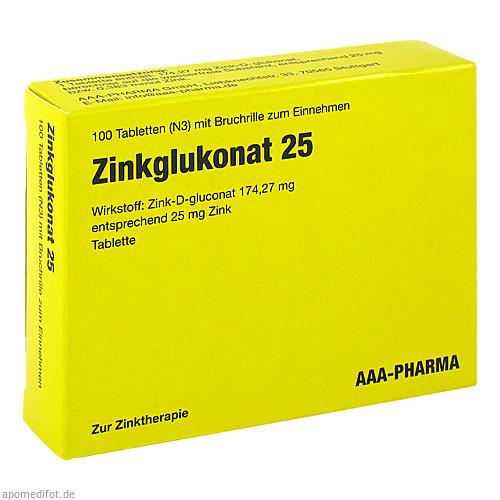 ZINKGLUKONAT 25 Tabletten, 100 ST, AAA - Pharma GmbH