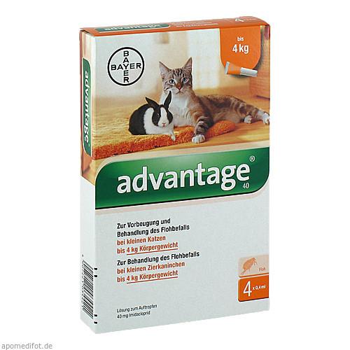 ADVANTAGE 40 mg Lsg.f.kl.Katzen/kl.Zierkaninchen, 4X0.4 ML, Bayer Vital GmbH GB - Tiergesundheit
