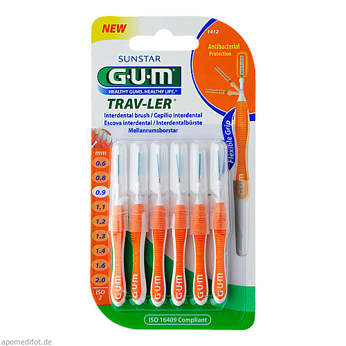 GUM TRAV-LER orange Kerze 0.9mm Interden+6 Kappen, 6 ST, Sunstar Deutschland GmbH