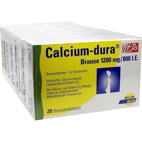 Calcium-dura Vit D3 Brause 1200mg/800I.E., 120 ST, Mylan Healthcare GmbH