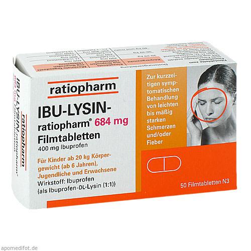IBU-Lysin-ratiopharm 684mg Filmtabletten, 50 ST, ratiopharm GmbH