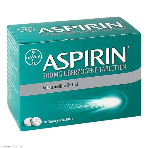 Aspirin 500mg überzogene Tabletten, 40 ST, Bayer Vital GmbH