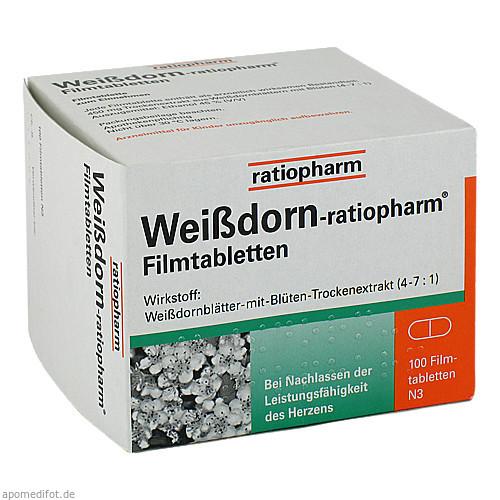 Weißdorn-ratiopharm Filmtabletten, 100 ST, ratiopharm GmbH