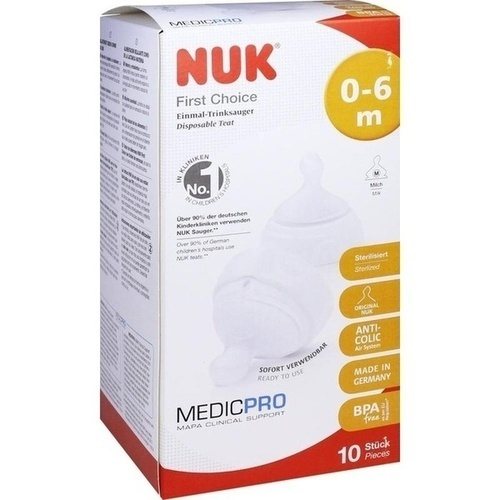 NUK First Choice Einmal-Trinksauger TPE 0-6 Mon./M, 10 ST, Mapa GmbH
