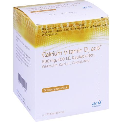 Calcium Vitamin D3 acis 500mg/400 I.E. Kautablette, 100 ST, Acis Arzneimittel GmbH
