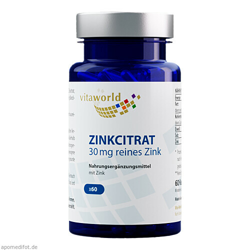 Zinkcitrat 30 mg, 60 ST, Vita World GmbH