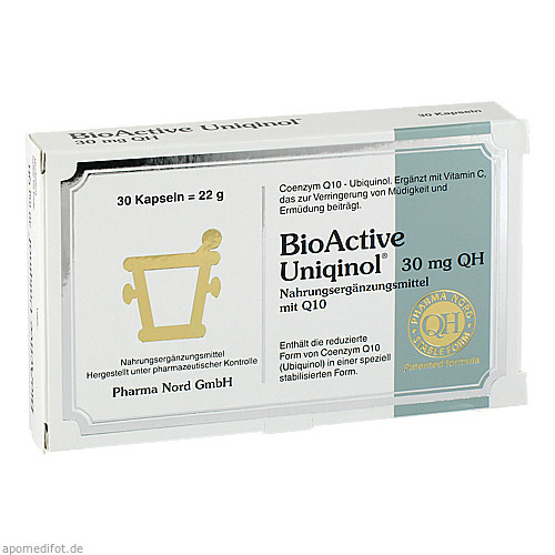 BioActive Uniqinol 30mg QH Pharma Nord, 30 ST, Pharma Nord Vertriebs GmbH